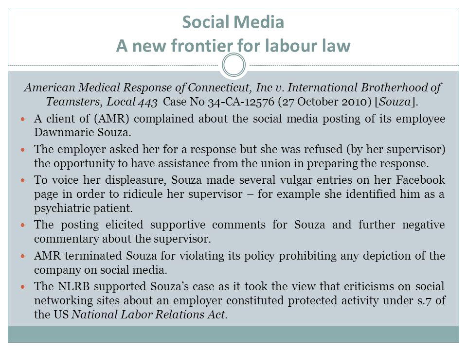 Social Media A new frontier for labour law