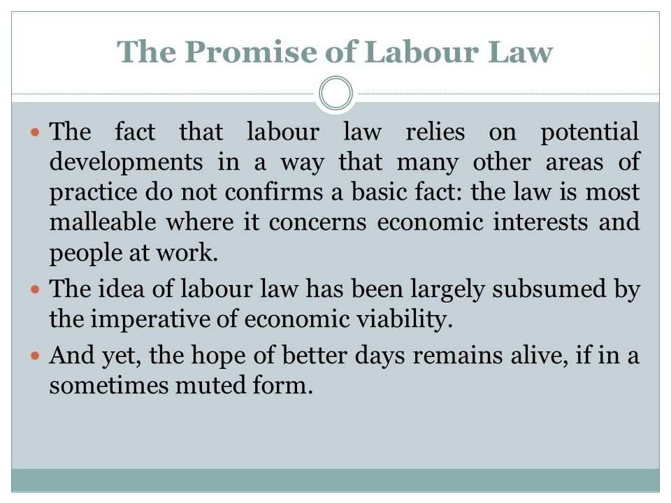 The Promise of Labour Law