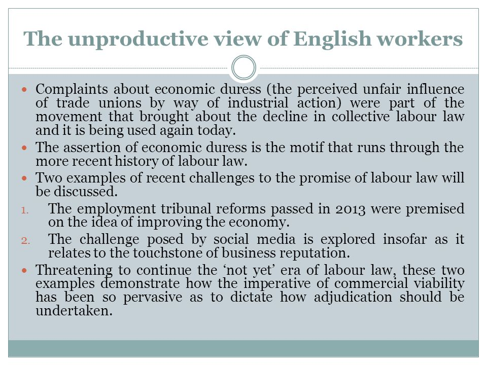 The unproductive view of English workers