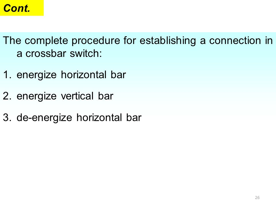 Cont. The complete procedure for establishing a connection in a crossbar switch: energize horizontal bar.