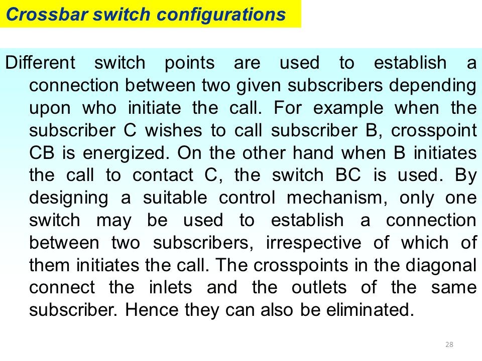 Crossbar switch configurations