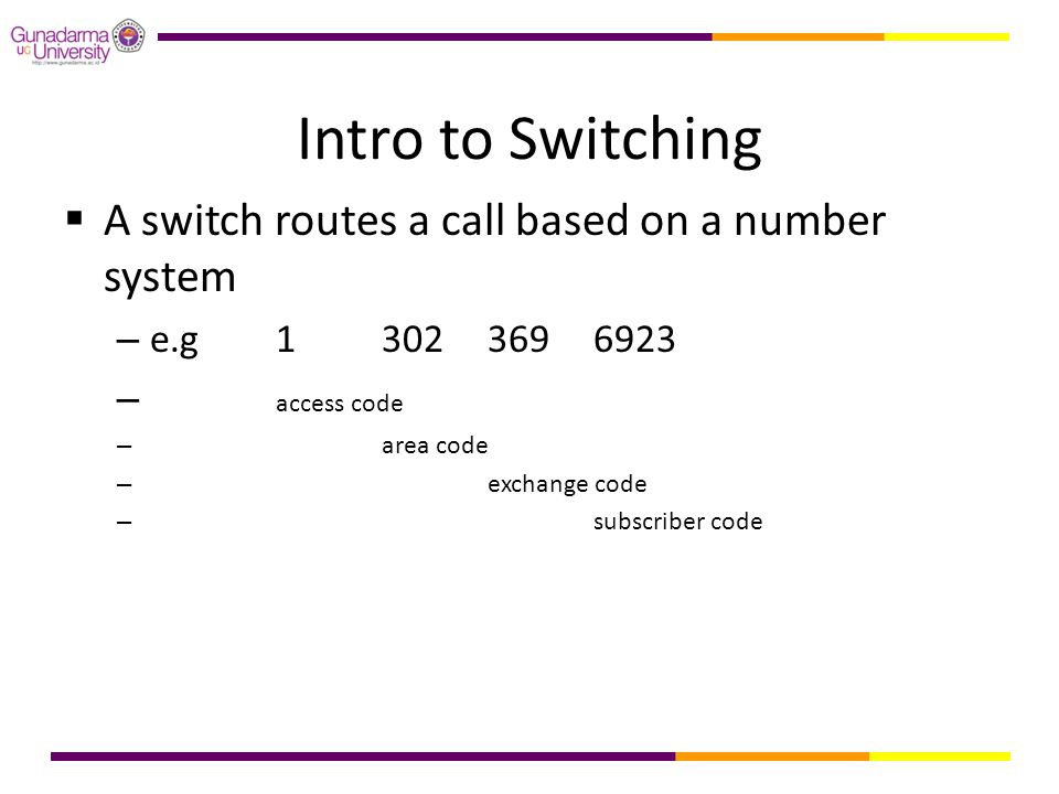 Intro to Switching A switch routes a call based on a number system