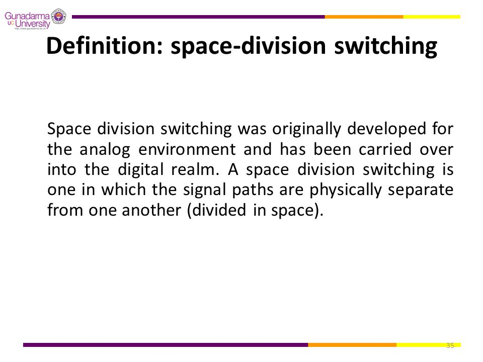 Definition: space-division switching