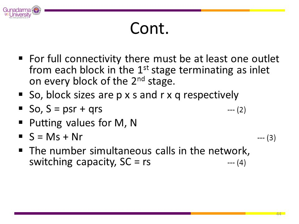 Cont. For full connectivity there must be at least one outlet from each block in the 1st stage terminating as inlet on every block of the 2nd stage.