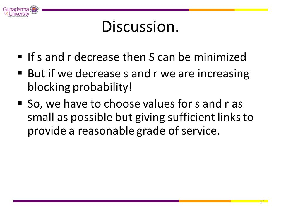 Discussion. If s and r decrease then S can be minimized