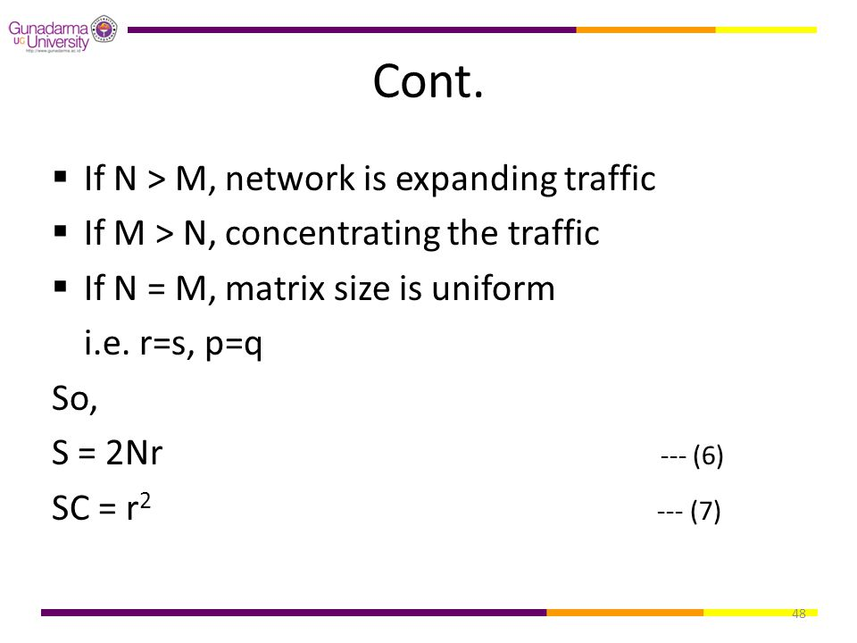 Cont. If N > M, network is expanding traffic