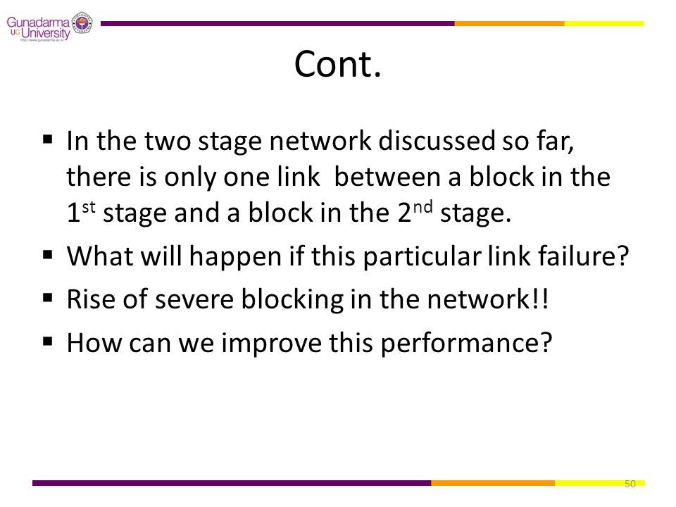 Cont. In the two stage network discussed so far, there is only one link between a block in the 1st stage and a block in the 2nd stage.