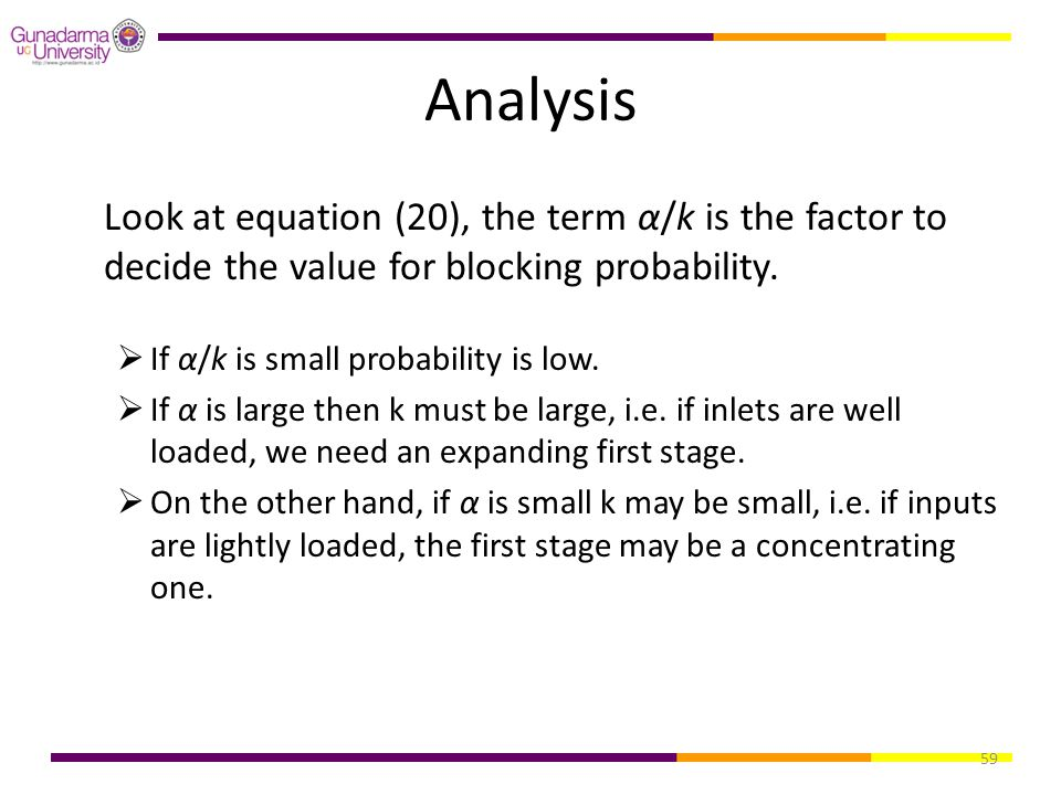 Analysis Look at equation (20), the term α/k is the factor to decide the value for blocking probability.