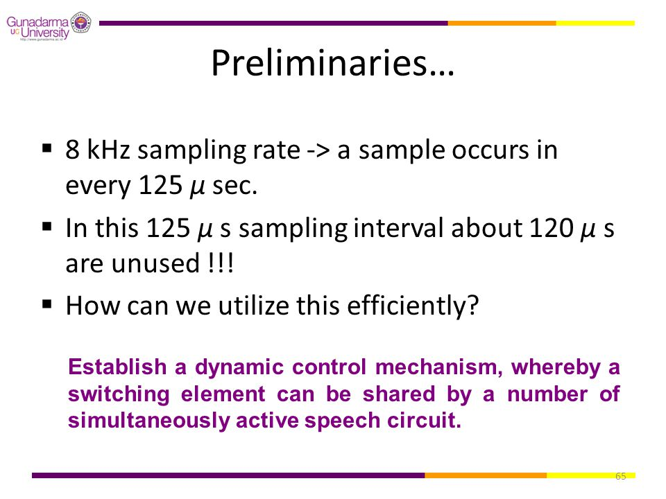 Preliminaries… 8 kHz sampling rate -> a sample occurs in every 125 μ sec. In this 125 μ s sampling interval about 120 μ s are unused !!!