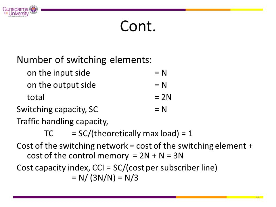 Cont. Number of switching elements: on the input side = N
