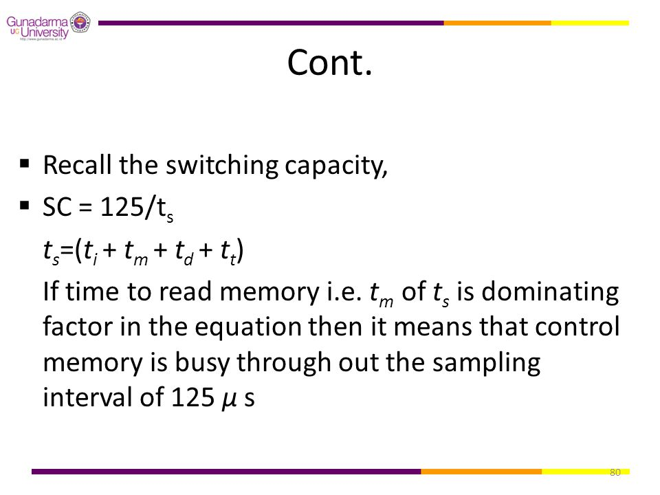 Cont. Recall the switching capacity, SC = 125/ts