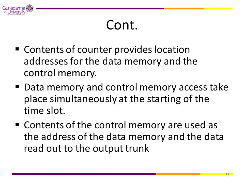 Cont. Contents of counter provides location addresses for the data memory and the control memory.