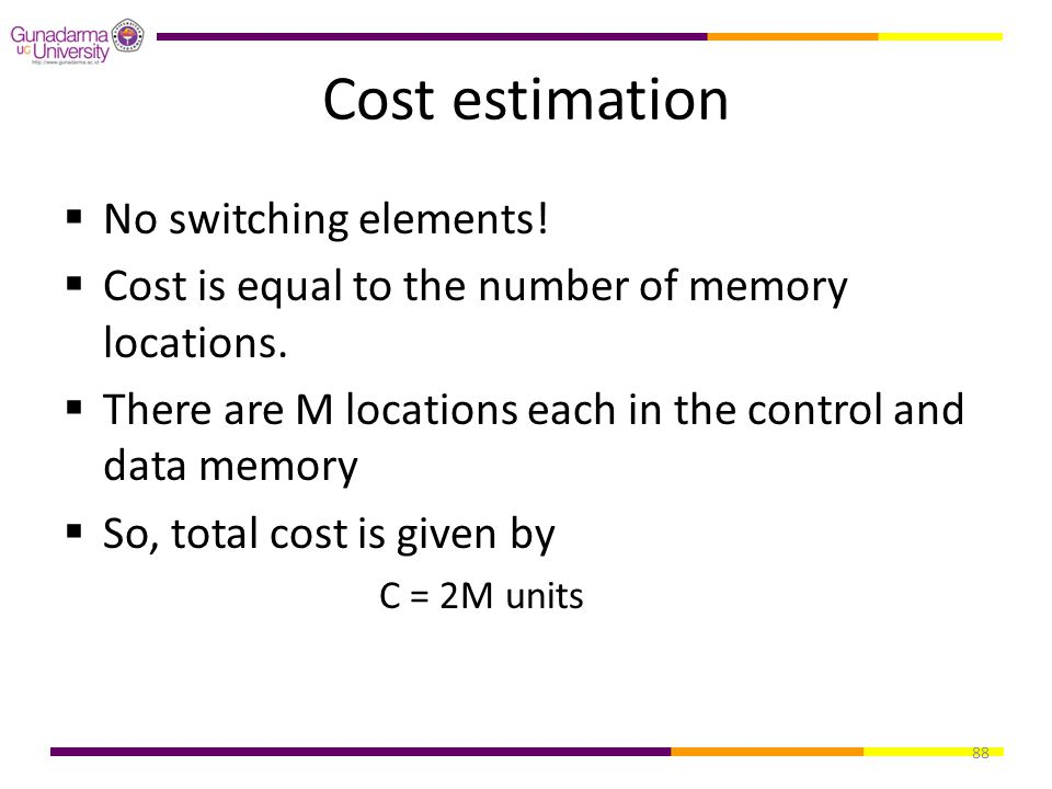 Cost estimation No switching elements!