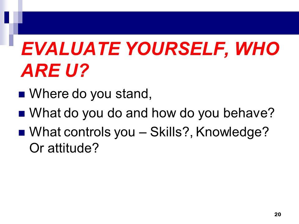 EVALUATE YOURSELF, WHO ARE U