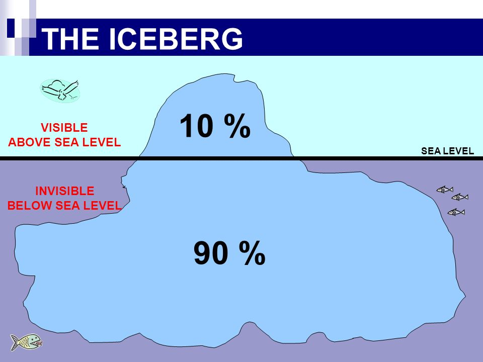 10 % 90 % THE ICEBERG VISIBLE ABOVE SEA LEVEL INVISIBLE