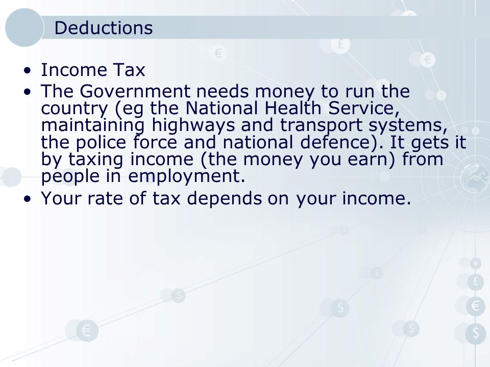 Deductions Income Tax.