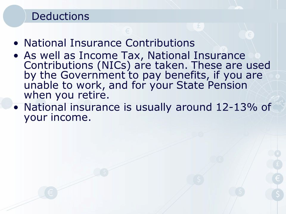 Deductions National Insurance Contributions.