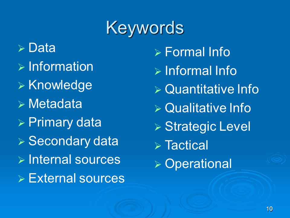 Keywords Data Formal Info Information Informal Info Knowledge