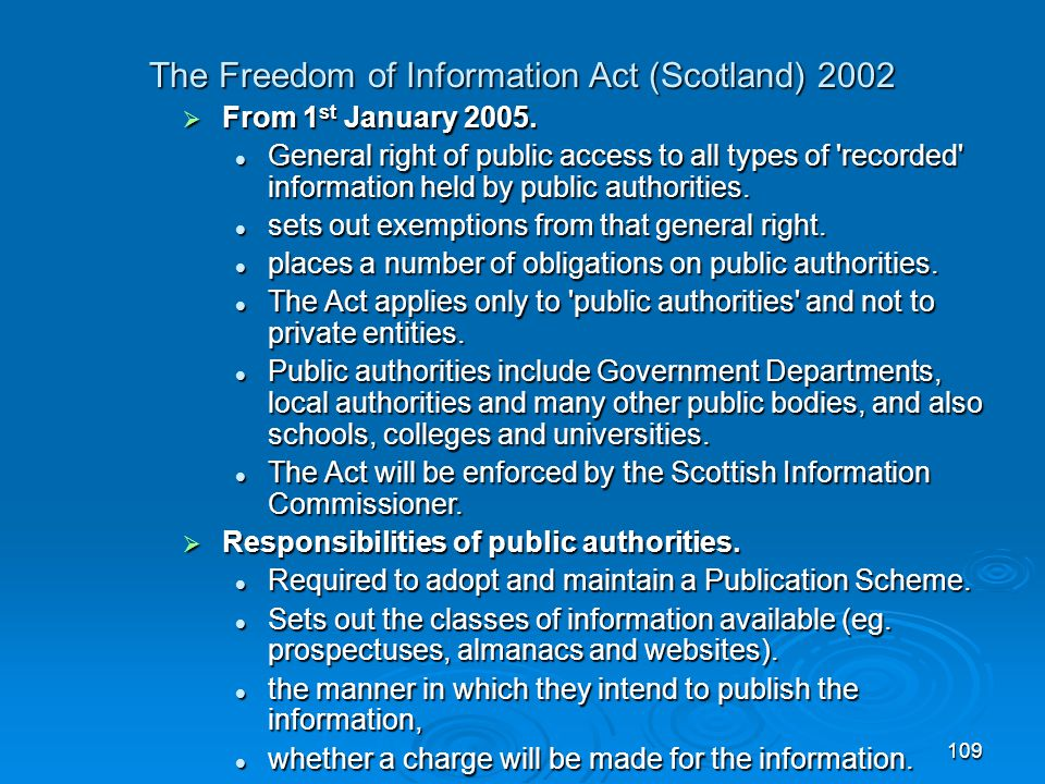 The Freedom of Information Act (Scotland) 2002