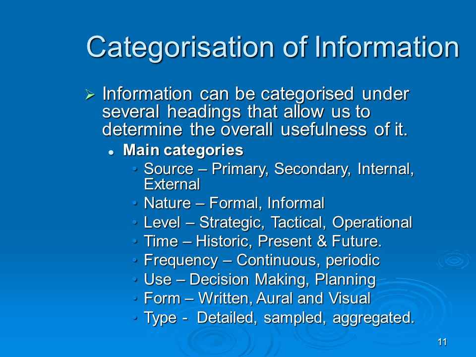 Categorisation of Information