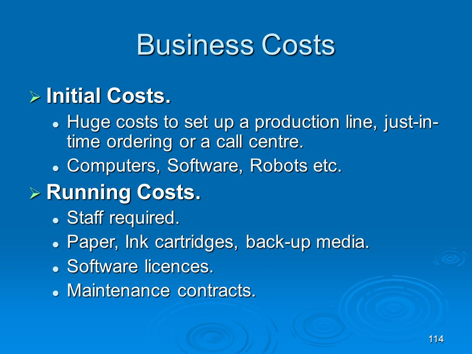 Business Costs Initial Costs. Running Costs.