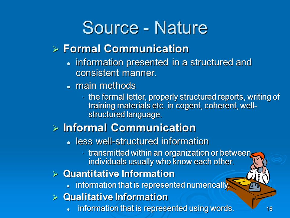 Source - Nature Formal Communication Informal Communication