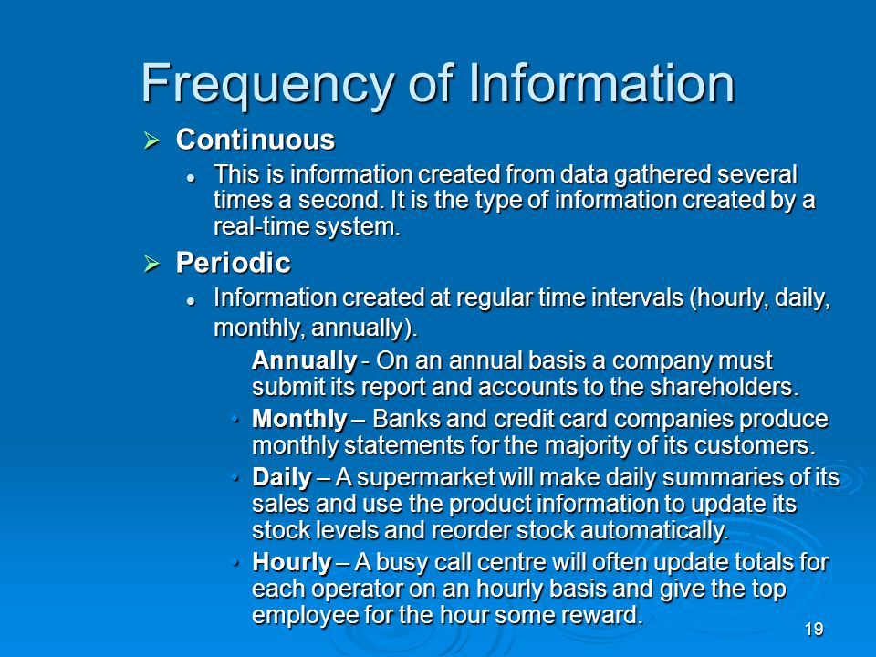 Frequency of Information