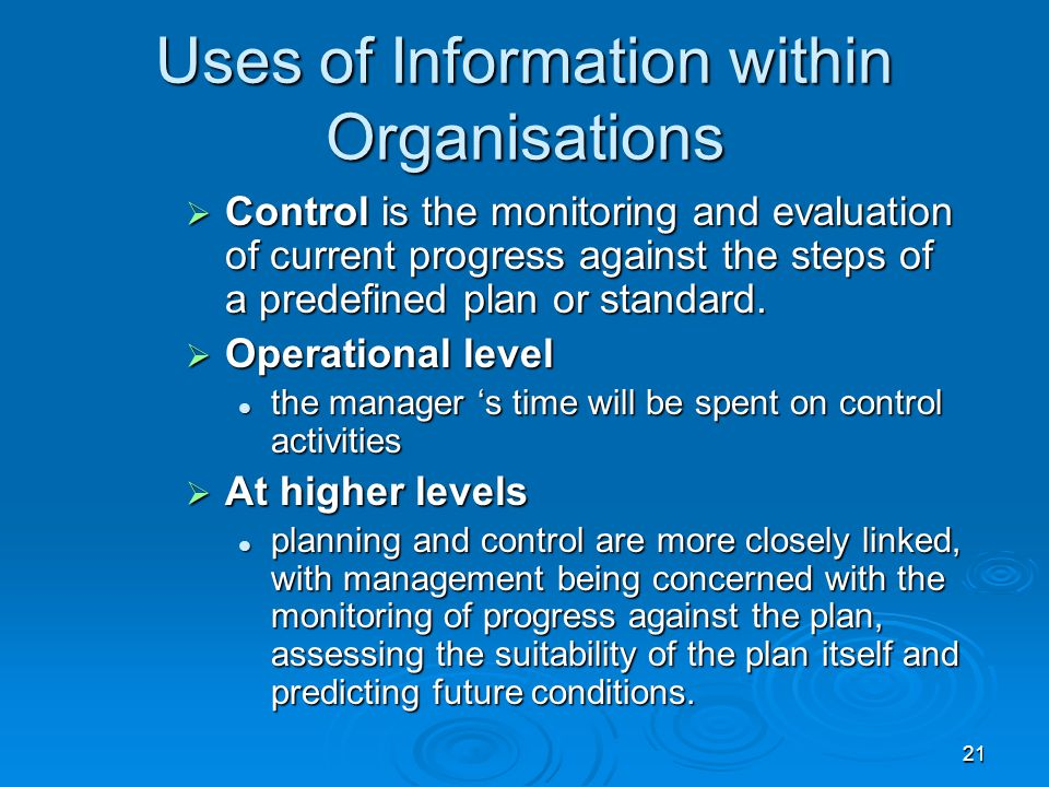 Uses of Information within Organisations