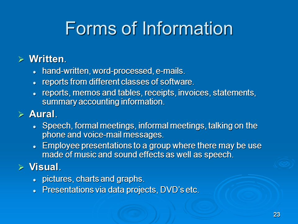 Forms of Information Written. Aural. Visual.