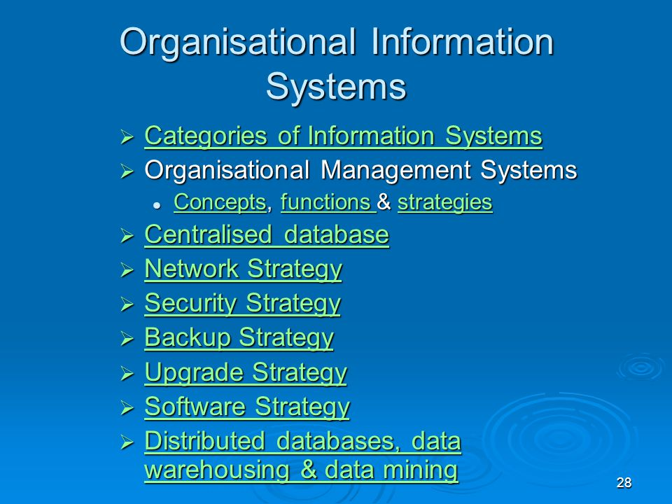 Organisational Information Systems
