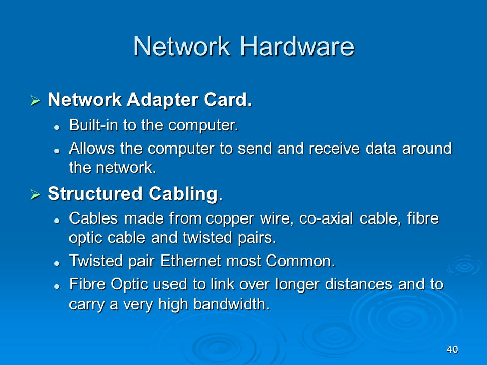Network Hardware Network Adapter Card. Structured Cabling.