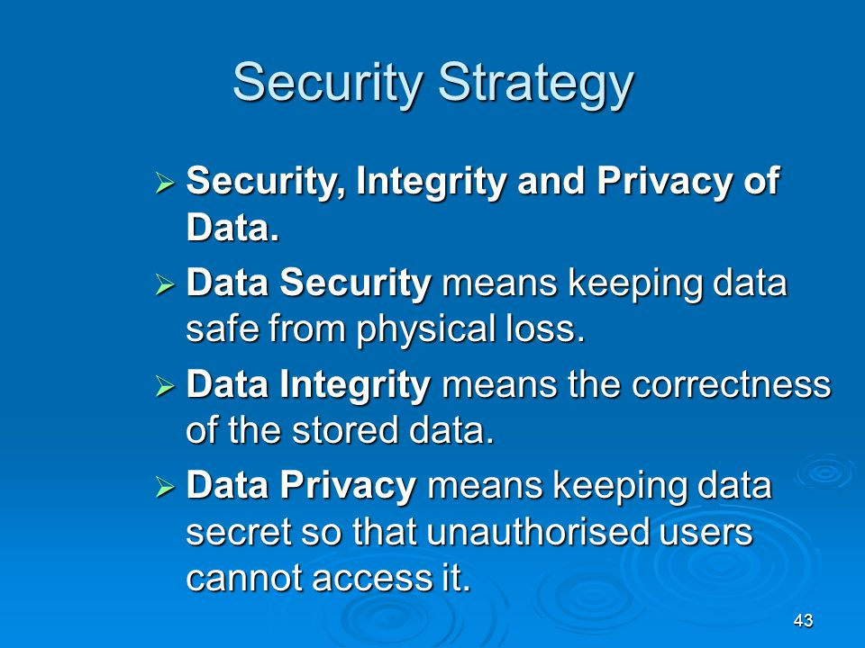 Security Strategy Security, Integrity and Privacy of Data.