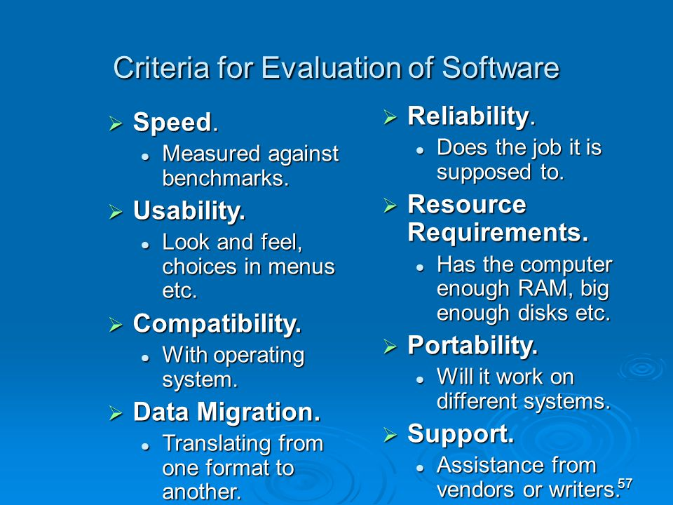 Criteria for Evaluation of Software
