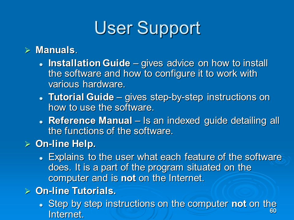User Support Manuals. Installation Guide – gives advice on how to install the software and how to configure it to work with various hardware.