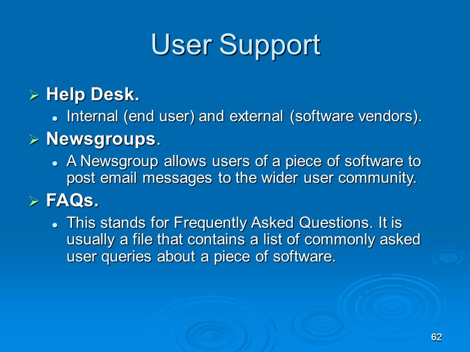 User Support Help Desk. Newsgroups. FAQs.