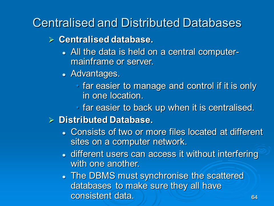 Centralised and Distributed Databases