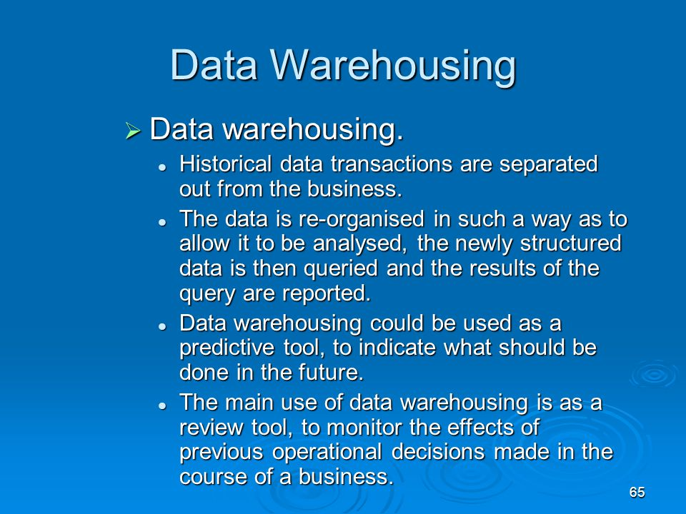 Data Warehousing Data warehousing.