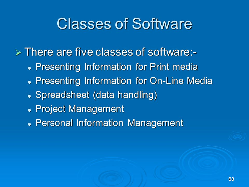 Classes of Software There are five classes of software:-