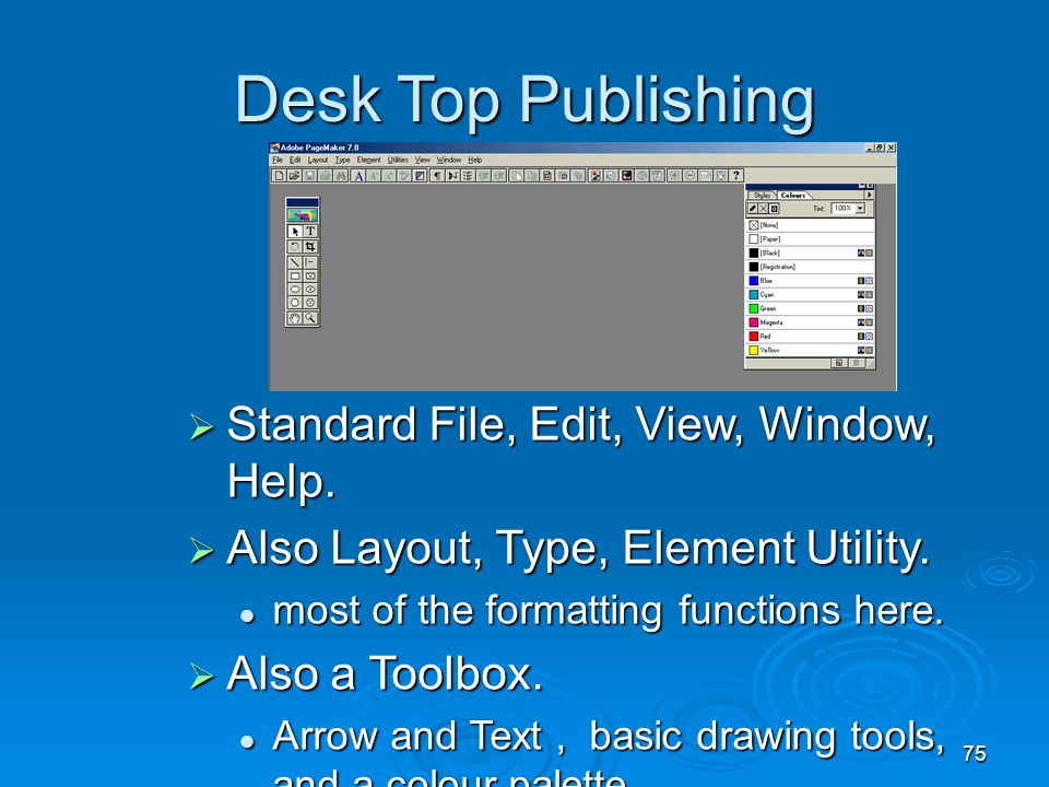 Desk Top Publishing Standard File, Edit, View, Window, Help.