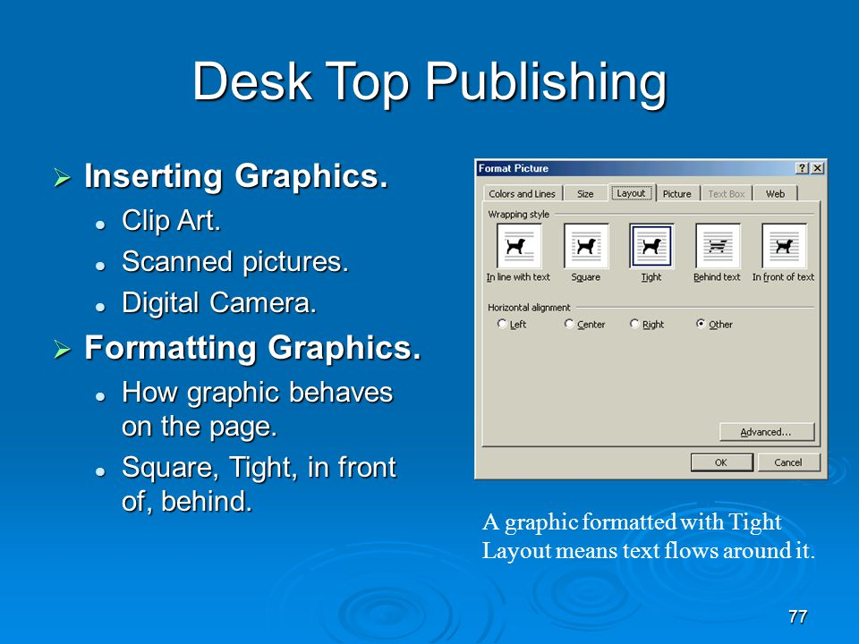 Desk Top Publishing Inserting Graphics. Formatting Graphics. Clip Art.