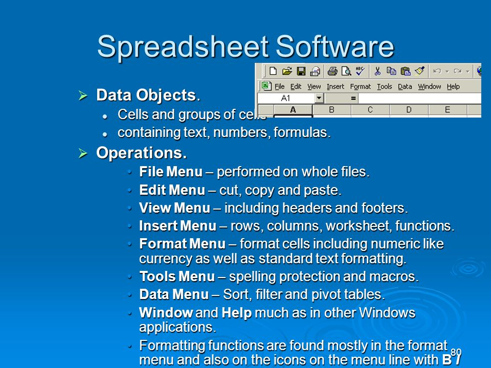 Spreadsheet Software Data Objects. Operations.