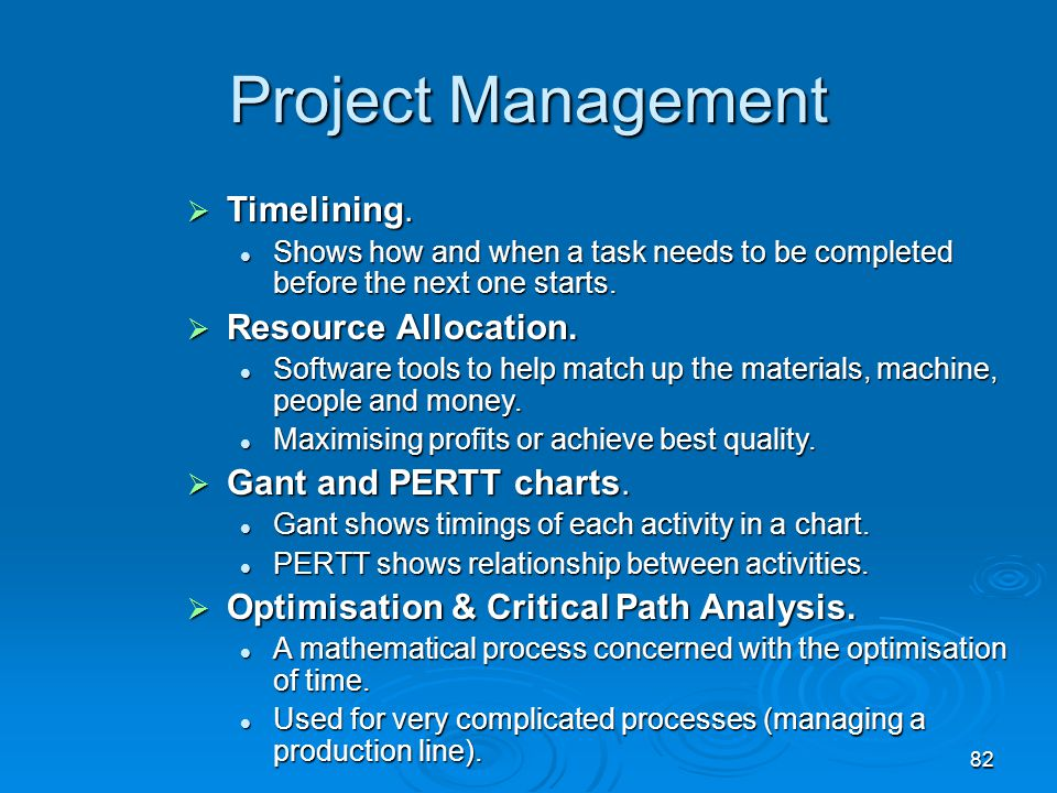 Project Management Timelining. Resource Allocation.