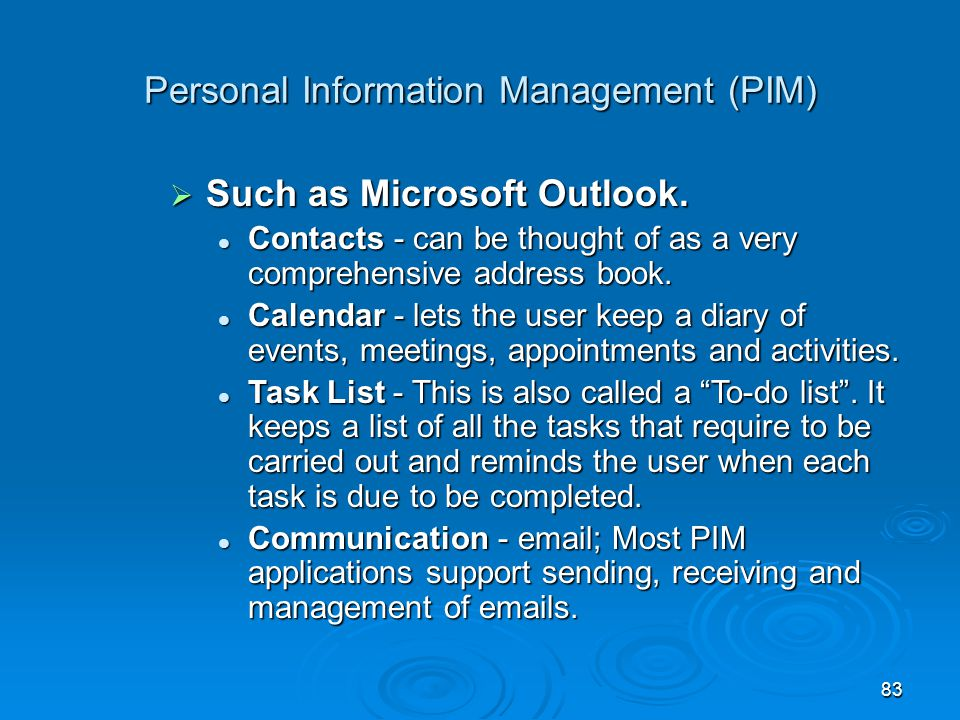 Personal Information Management (PIM)