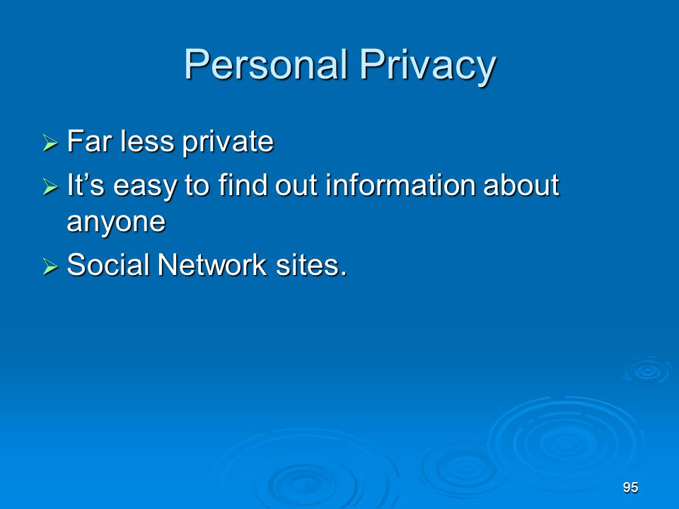 Personal Privacy Far less private