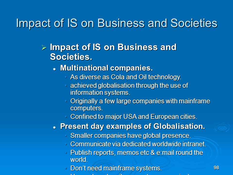 Impact of IS on Business and Societies