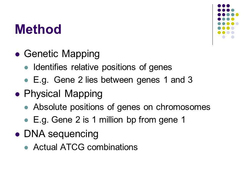 Method Genetic Mapping Physical Mapping DNA sequencing