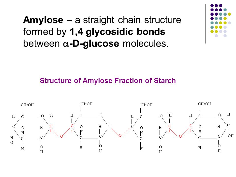 Amylose – a straight chain structure formed by 1,4 glycosidic bonds between a-D-glucose molecules.