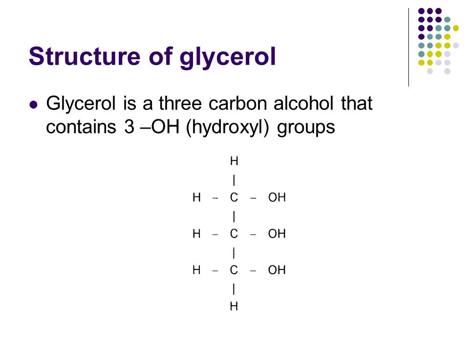 Structure of glycerol Glycerol is a three carbon alcohol that contains 3 –OH (hydroxyl) groups