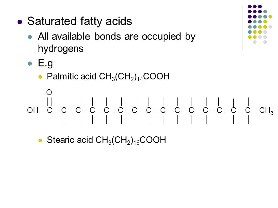 Saturated fatty acids All available bonds are occupied by hydrogens