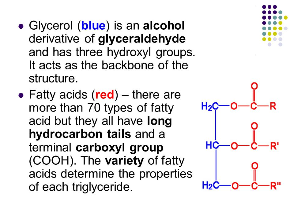 Glycerol (blue) is an alcohol derivative of glyceraldehyde and has three hydroxyl groups. It acts as the backbone of the structure.